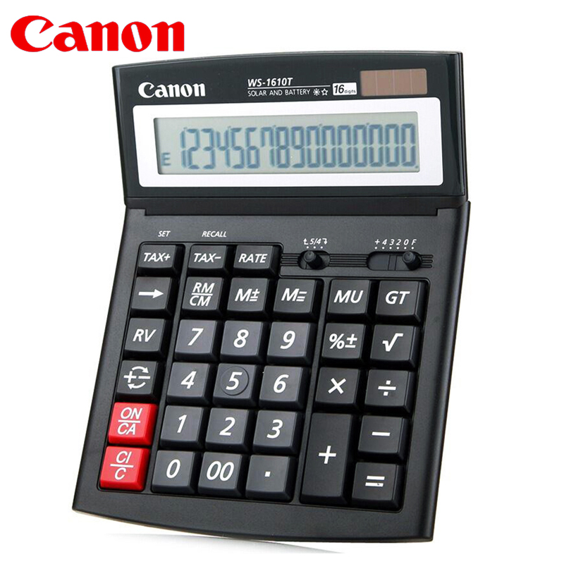 1pcs CANON WS 1610T Electronic Calculator Solar Business Financial Office 16 digit Large / Screen / Button Accounting Tax Rate Calculators     - title=