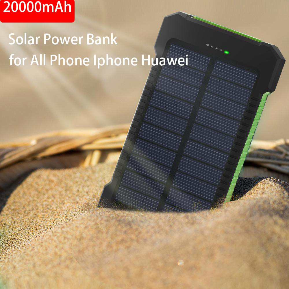 20000 Mah Portable <font><b>Solar</b></font> <font><b>Power</b></font> <font><b>Bank</b></font> <font><b>20000mAh</b></font> <font><b>External</b></font> <font><b>Battery</b></font> DUAL USB Powerbank <font><b>Battery</b></font> Charger for All Phone Iphone Huawei image