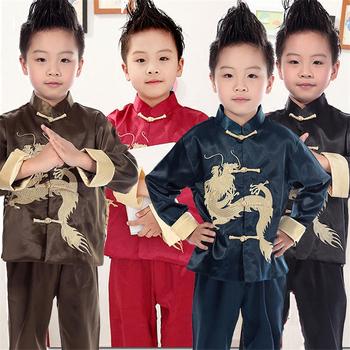 Tradycyjna chińska odzież dla chłopców strój Tang haft smok z długim rękawem jedwab nowy rok chiny modna bluzka dziecięca tanie i dobre opinie Poliester Chłopcy Czesankowej Embroidery XXS(80) XS(90) S(100) M(110) L(120) XL(130) 2XL(140) 3XL(150) Red Brown Navy Traditional chinese clothing