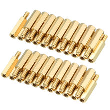 uxcell 40pcs M3 15+6mm Female Male Thread Brass Hex Standoff Spacer Screws PCB Pillar(China)