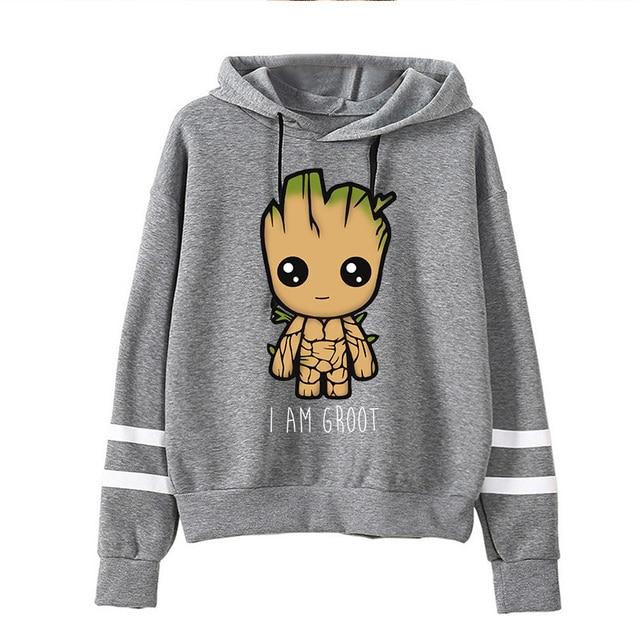 Spring Autumn Hoodies Harajuku Y2k Funny Cartoon Groot Printed Oversized Hoodies Women Streetwear Fashion Casual Sweatshirt 2