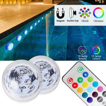 IP68 Waterproof RGB Submersible LED RGB Night Light Underwater Light For Fish Vase Bowl Outdoor Garden Wedding Party Decoration wedding reception under vase lighting rgb color changing 6inch round led light base for table vases decoration