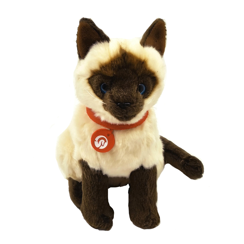 Dropshipping 1pc 26cm Realistic Plush Siamese Cat Lifelike Stuffed Animal Kitten Soft Toy Peluche Dolls For Children