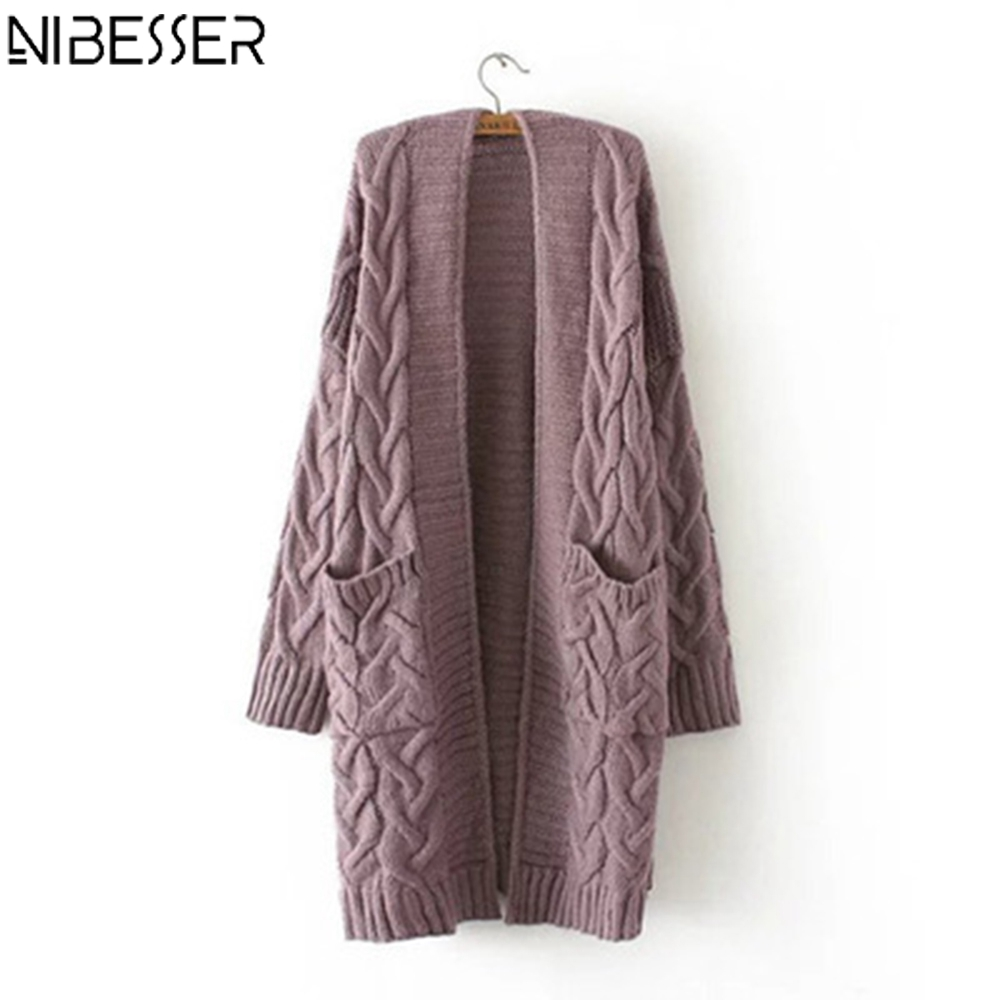 NIBESSER New 2019 Winter Korean Style Women's Sweater Loose Long Sleeve Knitted Cardigan Coat Solid Color Lady Cardigans Sweater