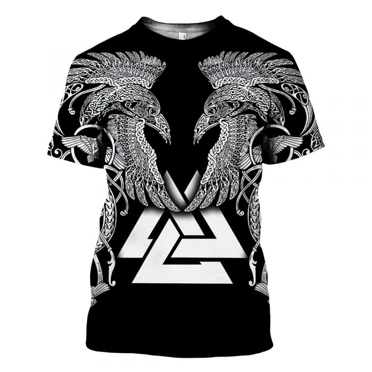 2020 New Fashion Men hoodies 3D Printed Viking Tattoo t shirt tees shorts sleeve Apparel Unisex Norse cosplay streetwear-15 1