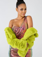 European style sexy solid plush short candy colored coat faux fur coat wide loose shirt short jacket green teddy furry coat 3XL