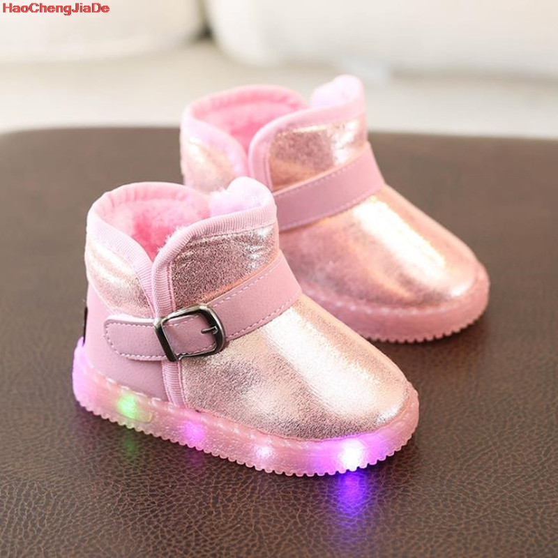 New Winter Girls LED Boots Plush Toddler Children Snow Boots Soft Sole Warm Baby Kids Boots EU 21-30