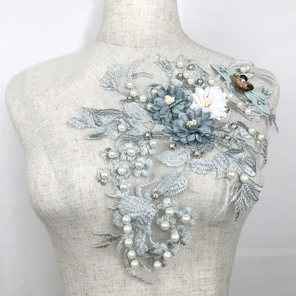 Costume-Decoration Decal Wild-Clothing-Accessories Embroidery Flower Wedding-Dress Mesh