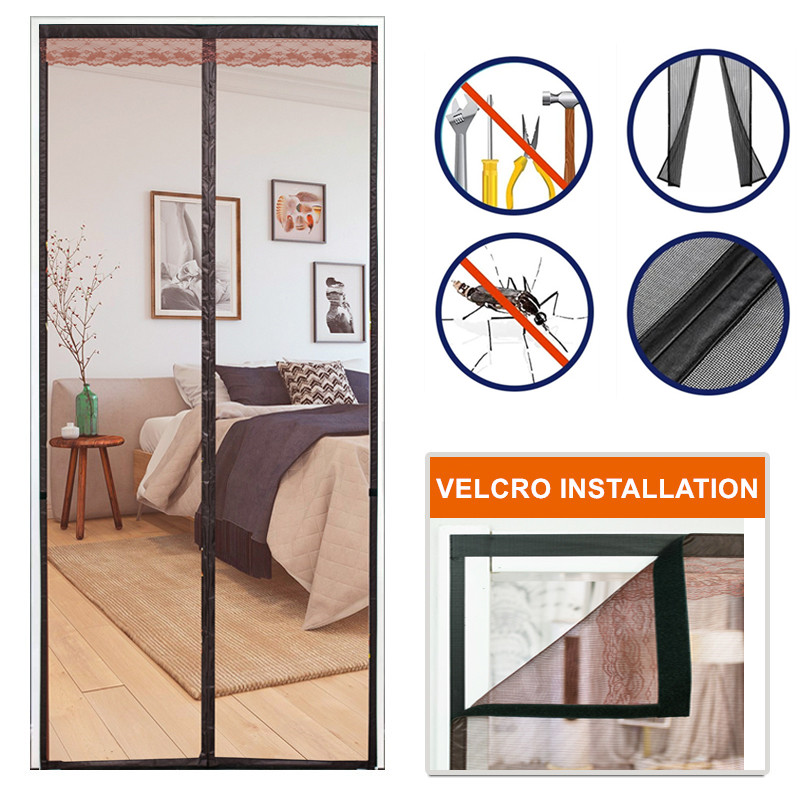 Reinforced Magnetic Screen Door Curtain Net Anti Insect Mesh Fly Screen Mosquito Protection Net Room Divider Folding Screen Wall
