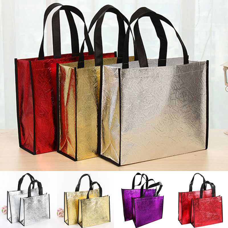Foldable Laser Shopping Bag Reusable Eco Tote Waterproof Non-woven Bag Large Tote Grocery Bag Convenient Storage Ads Custom Drop