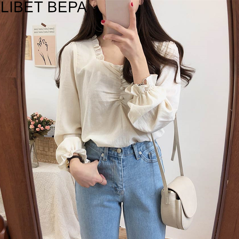 New 2020 Spring Summer Women's Blouse Casual Fashionable Shirt Pleated Elegant Lantern Sleeve Lace Up Sweet Buttons Tops BL1908