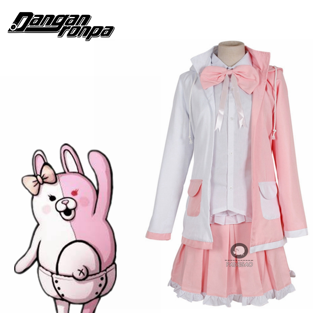 Danganronpa Dangan Ronpa 2 Monomi Pink White Dress Full Set Women Halloween Cosplay Costume