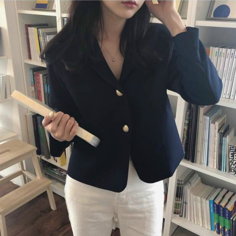 2019 Korea Women Autumn Cotton Blazers Brief Jackets Coat Single Breasted Blazer Feminina Chaqueta Mujer Outer Wear Veste Femme