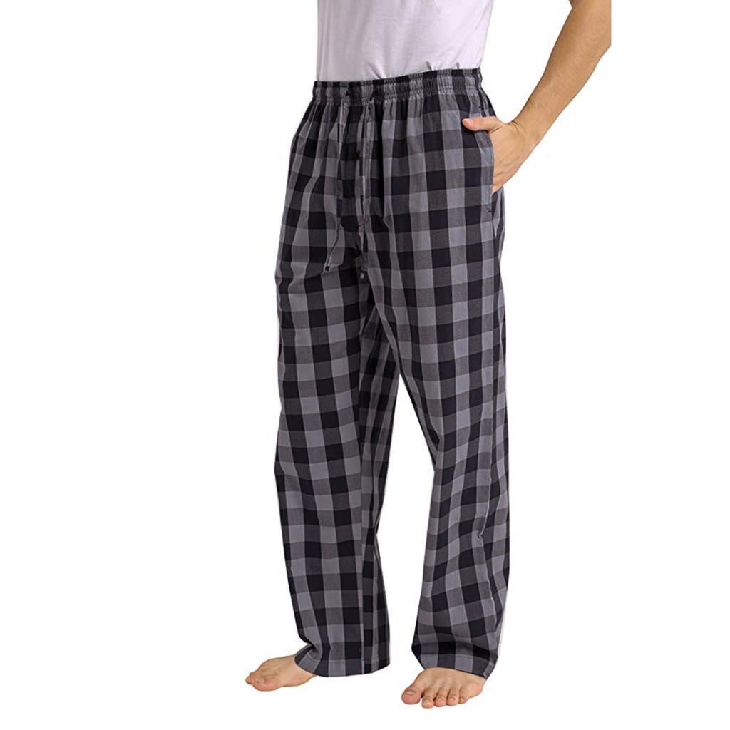 Homens da moda Xadrez Solta Esporte Casual Calças Sweatpants Calças Xadrez Calças de Pijama Plus Size Casa спортивные штаны