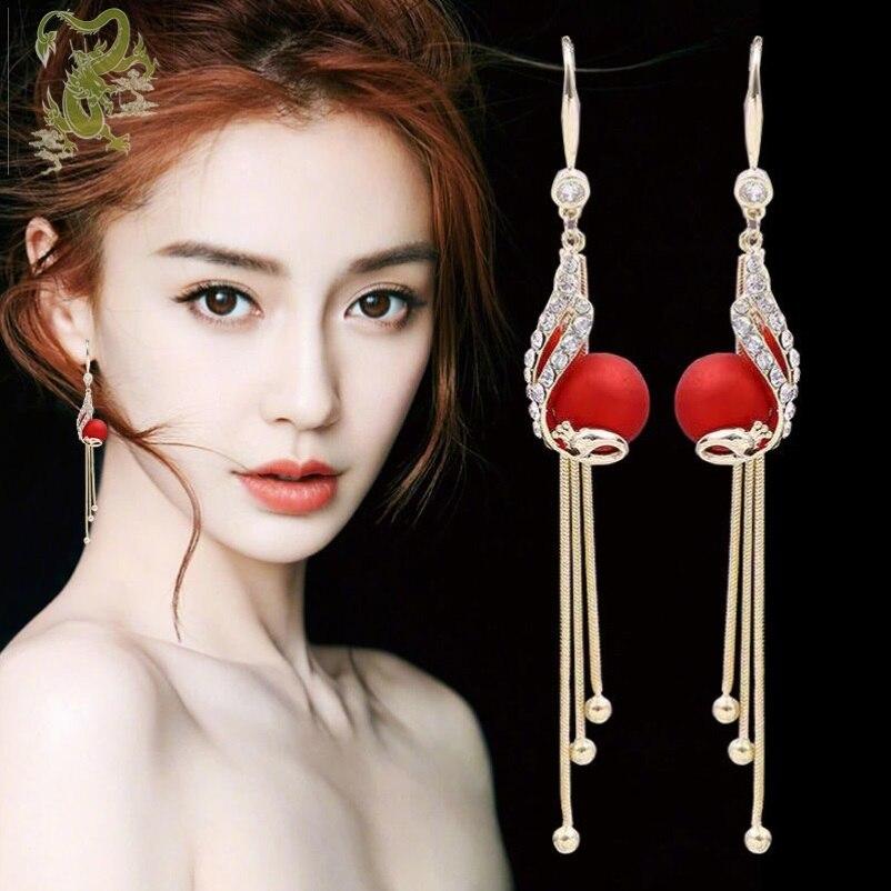 Elegant Temperamental Alloy Peacock Full Rhinestone Tassel Pendant Earrings Exquisite Super Fairy Red Simulated-pearl Earrings