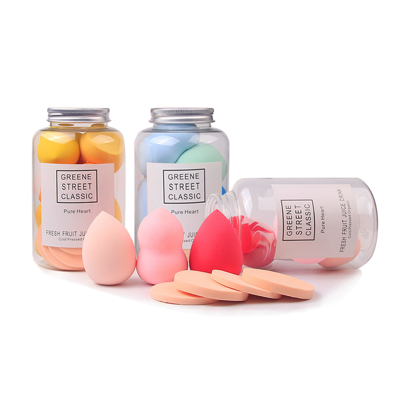 Cosmetic Puff 10 PCS Foundation Sponge Powder Smooth Cream Blending Multi Shape Water Face Beauty Makeup Tool Set with Bottle in Cosmetic Puff from Beauty Health