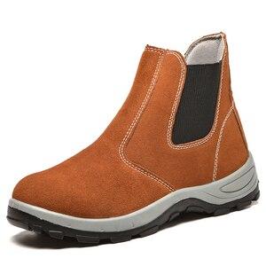 Мужские рабочие ботинки в английском стиле для отдыха со стальным носком рабочие ботинки из мягкой кожи безопасные ботильоны челси botas