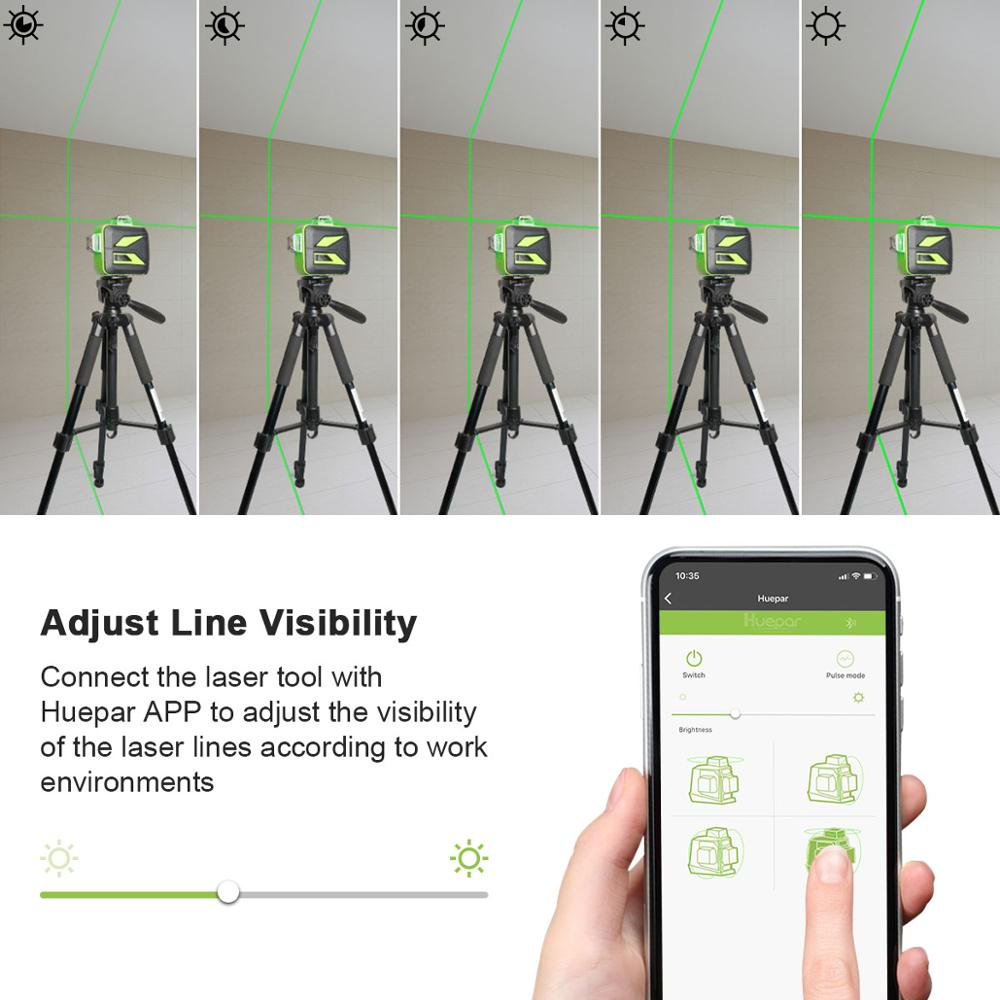 Tools : Huepar 3x360 Green Beam 3D Laser Level with Bluetooth Connectivity Self-Leveling Cross Line USB Charge Use Dry  amp  Li-ion Battery