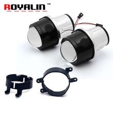 цена на ROYALIN Fog Light Lens for Toyota Corolla Prado Camry Yaris Levin 2.5'' Full Metal Bi Xenon Projector Lens Auto H11 Fog Light
