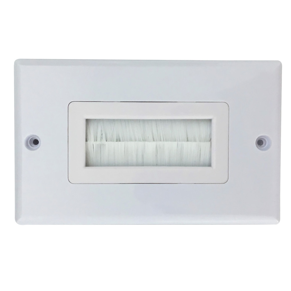 Home Wall Socket Easy Install Panel Anti Dust White Multifunctional Cable Pass Through Single Gang Brush Plate ABS Insert Cover