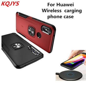 KQJYS Metal Ring Wireless Charging Mobile Phone Case Huawei P20 Pro 20Lite Honor V10 7X for Huawei Nova 3 3e 3i Back Cover