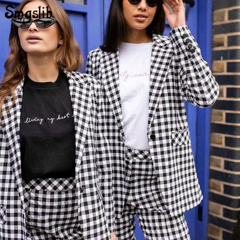 Vintage Office Ladies black and white plaid Blazer Long Sleeve Loose Houndstooth Suit Coat Jacket Women blazers Female 2019