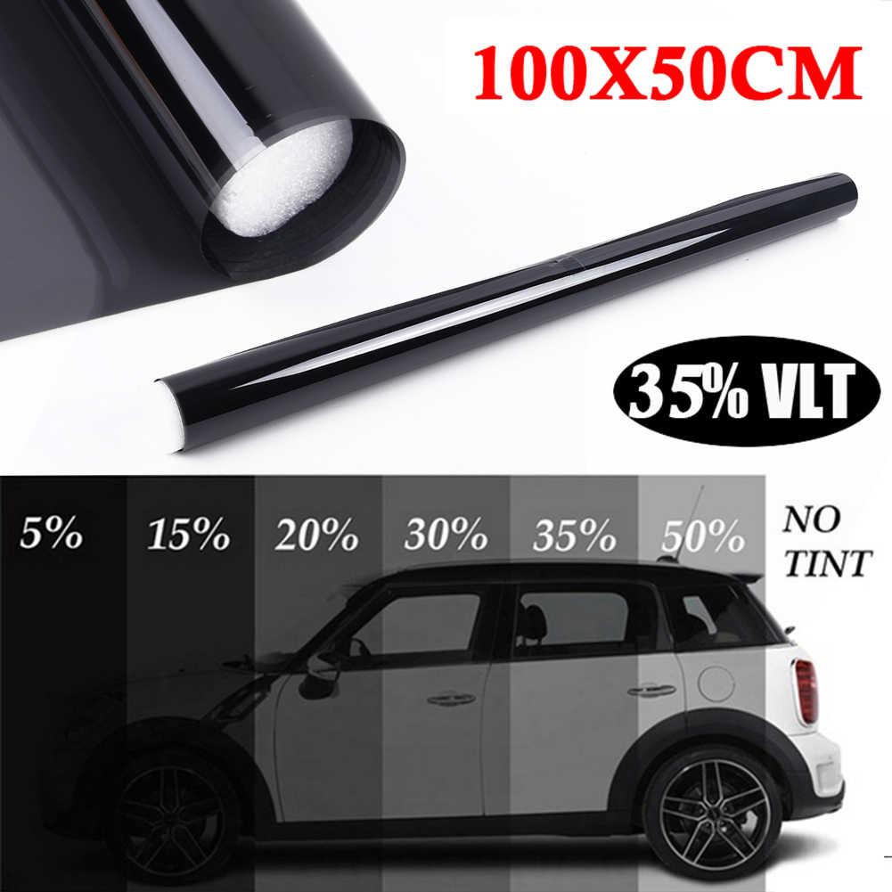 100*50cm uniwersalny do samochodów ciemny czarny folia na okna samochodu szkło VLT 35% rolki 1 warstwy samochodu Auto House komercyjne ochrona przeciwsłoneczna