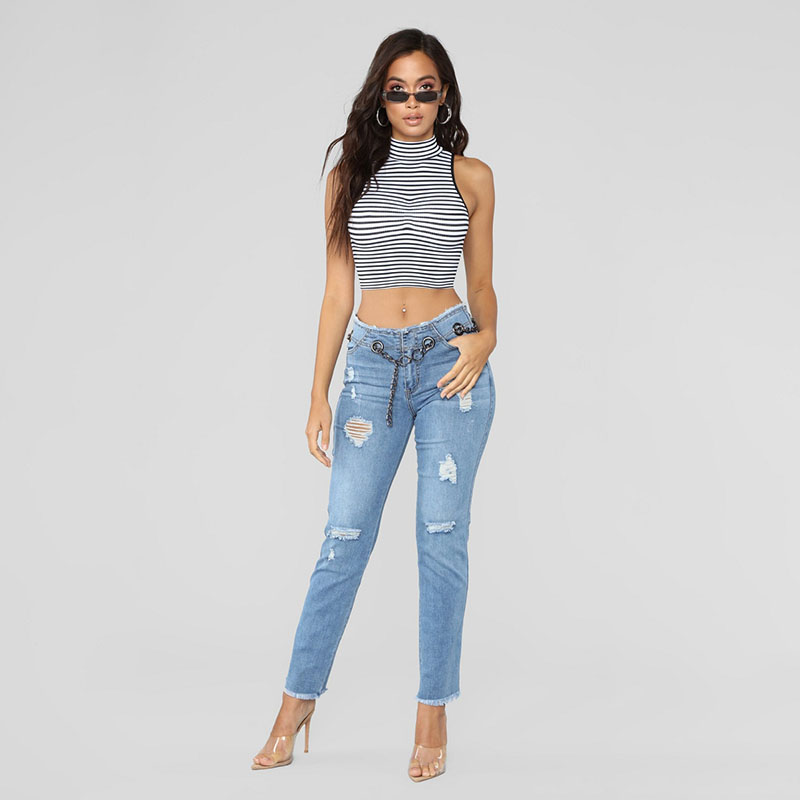 2019 Newest Hot Women Stretch Ripped Distressed Skinny High Waist Denim Pants Shredded Jeans Trousers Belt