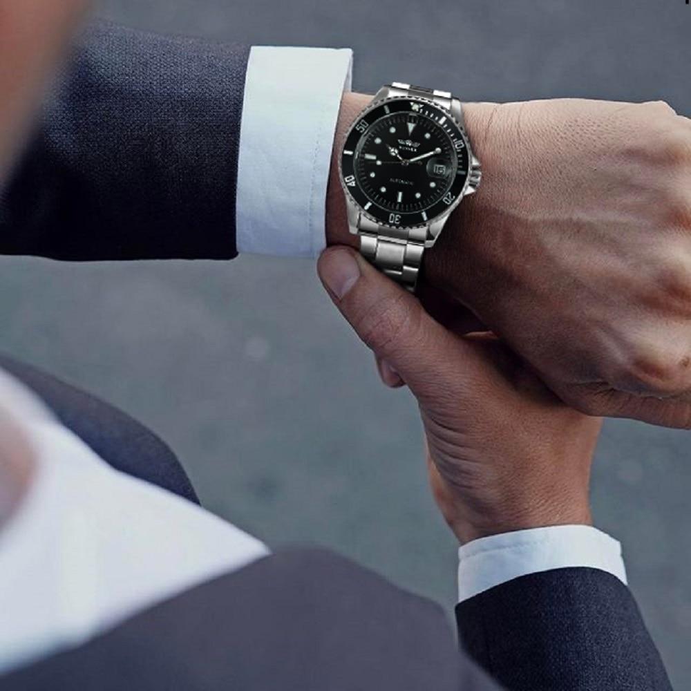 Image 5 - WINNER Official Classic Automatic Watch Men Business Mechanical Watches Top Brand Luxury Steel Strap Calendar Wristwatches hotwatch stainlesswatch stainless steel strapwatch f -