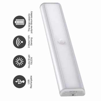 Newest Arrival PIR Motion Sensor Led Night Light for Under Cabinet Closet Wardrobe Lighting Portable Lamp by USB Rechargeable - DISCOUNT ITEM  30 OFF Lights & Lighting