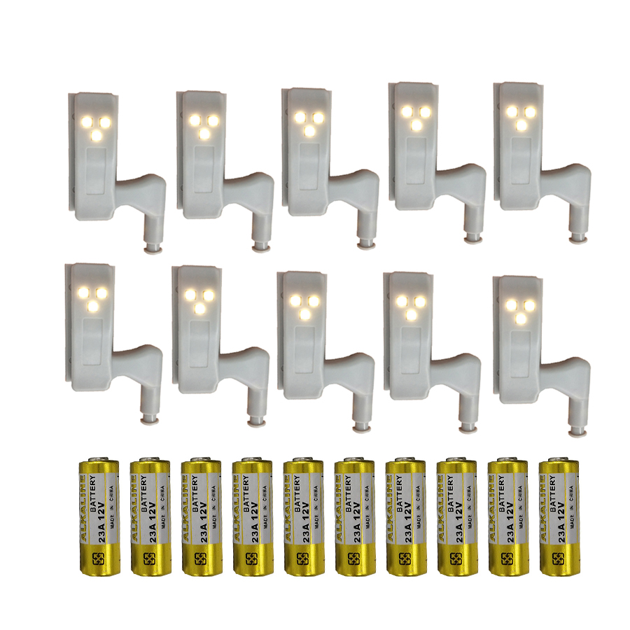 Thrisdar 10PCS LED Under Cabinet Light Universal Wardrobe Closet Inner Hinge Night Light Lamp For Cupboard Closet Kitchen