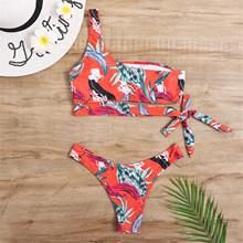 40 # stroje kąpielowe kobiety jedno ramię Bow Knot Bikini Set Push Up wysokiej talii dwuczęściowy strój kąpielowy kostiumy kąpielowe wyściełane stroje kąpielowe купаликк tanie tanio CN (pochodzenie) Drut bezpłatne Drukuj WOMEN Pasuje prawda na wymiar weź swój normalny rozmiar Poliester Młody styl