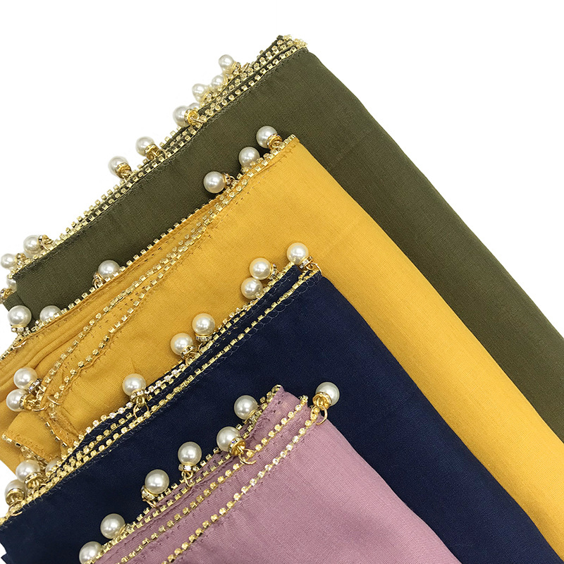 Fashion Ladies Long Scarves With Dimonds Chain Big Pearls Elegant Women's Muslim Hijab Viscose Malaysia Headscarf Turban Wrap