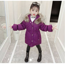 Children Winter Jackets for Girls Cotton Long Coat Parka 2019 New Hooded Zipper Solid Thick Outerwear Girl Kids Winter Clothes(China)