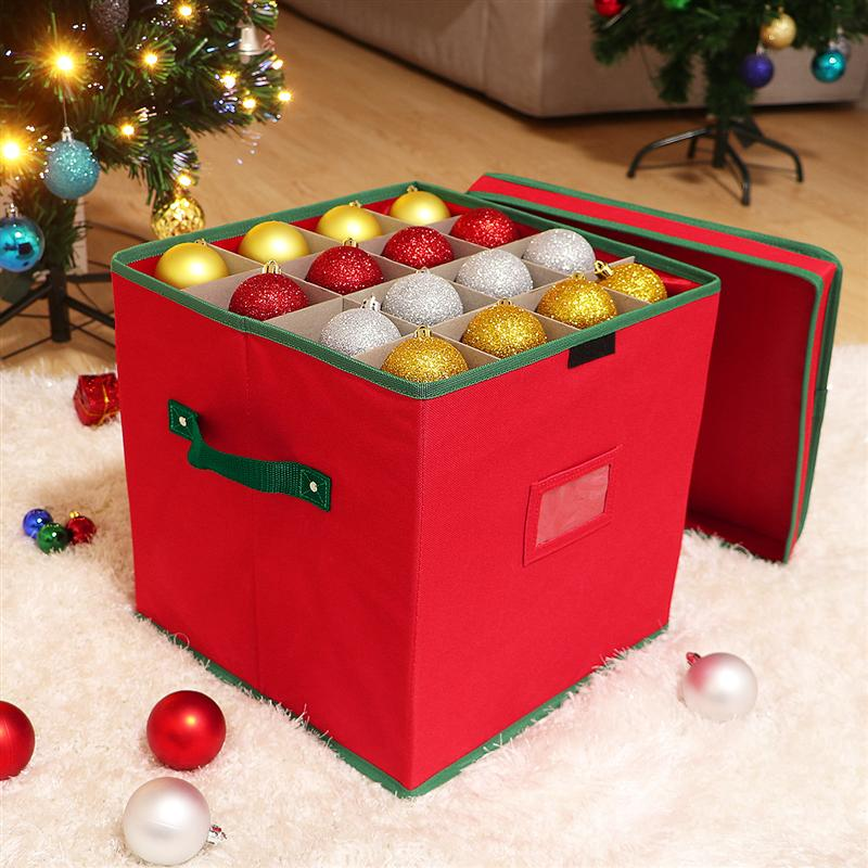 Cabilock Christmas Ornament Storage Box With Lid Storage Container Keeps 64 Holiday Ornaments And Xmas Decorations Accessories