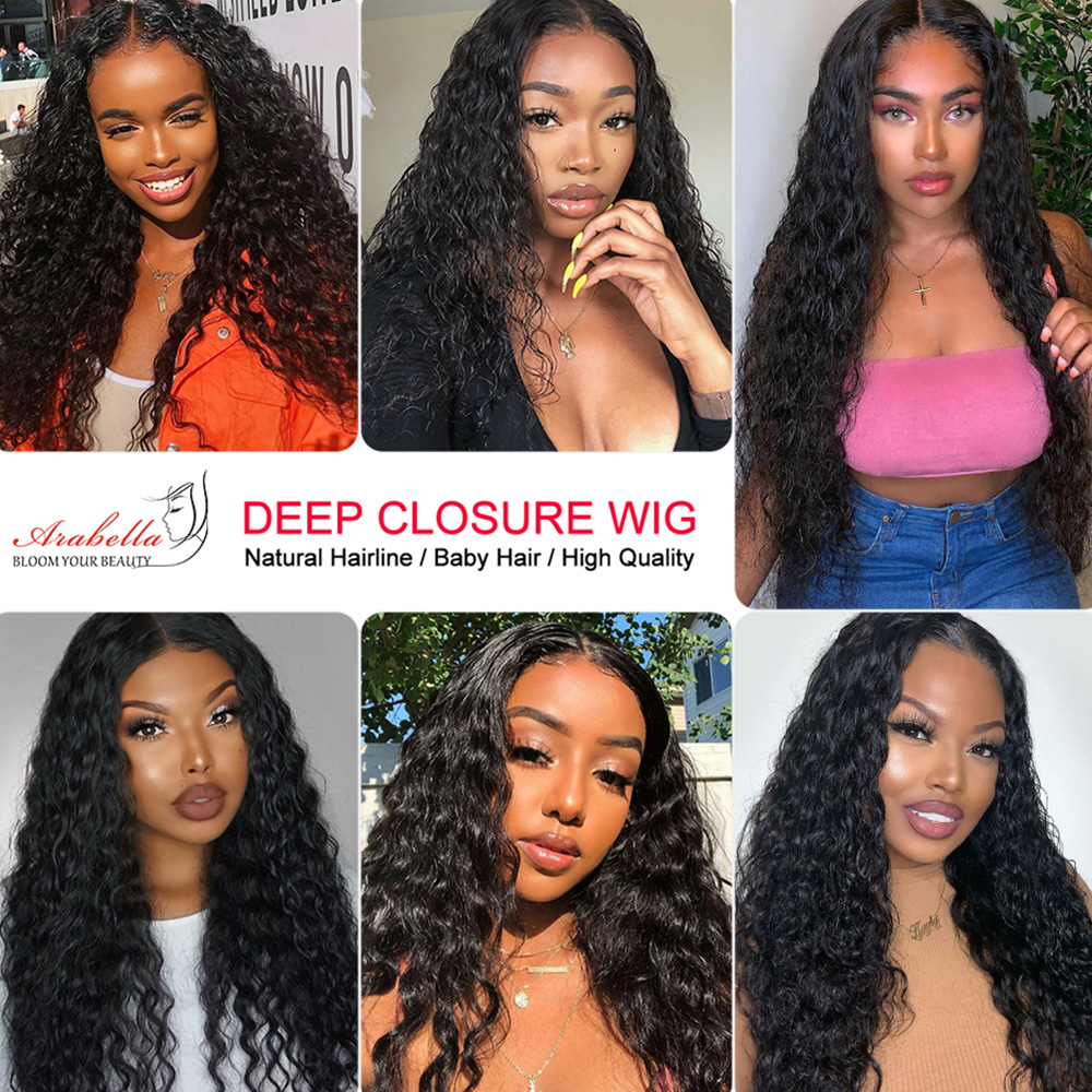 Deep Wave Lace Frontal Wig  Closure Wig Glueless 180 Density  Hair Lace Closure Wig With Baby Hair  5