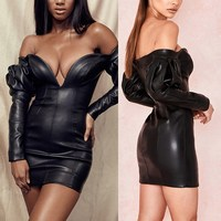 2019 New Fashion Women Long Sleeve Strapless Sexy Dress Black Pu Leather Bodycon Dress Off Shoulder Club Dress