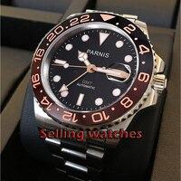 40mm parnis sapphire gmt automatic machinery movimento rotateing bezel relógios masculinos luminosos|Relógios mecânicos| |  -