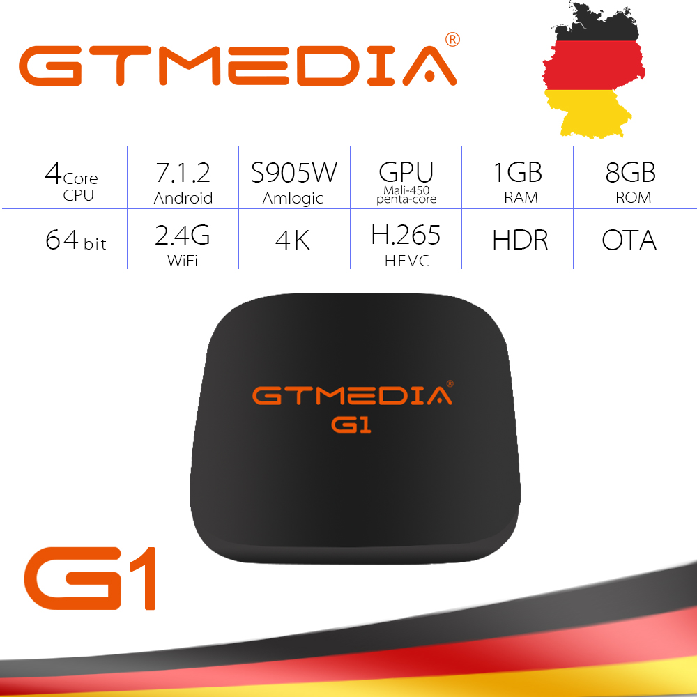 GTmedia Android 7.1 TV Box Youtube 4K 1G 8G 4G Wifi 4K H.265 1080P MPEG-4 movies supported Inside GTUI PK H96 Android 9.0 TV Box стоимость