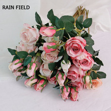 2 Heads Artificial Flowers Fake Rose Bouquet Silk Real Touch Roses Preserved High Quality Wedding Home Decoration