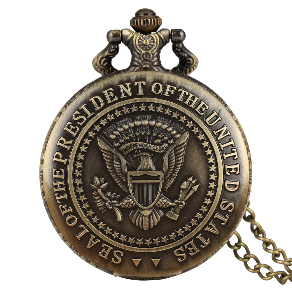 America White House Donald Trump Pocket Watch Seal of the President of The United States Accessory reloj de bolsillo hombre image