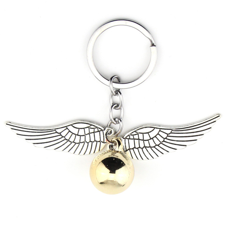 Harried Golden Snitch Pendent Keychain Potters Bohemia Vintage Style Angel Wing Charm Keychain For Men women Keyring hot sale