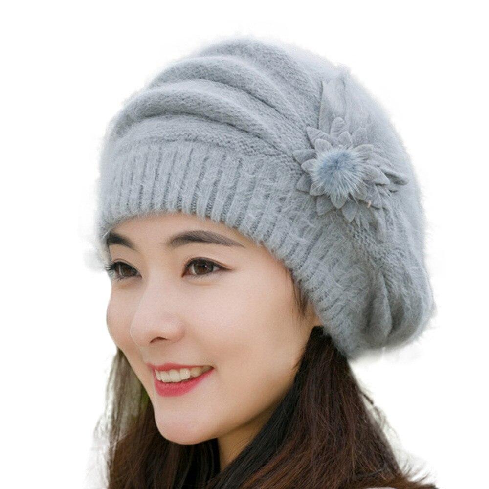 Fashion Elegant Lady Women Beret Beanie Classic Style Wool Felt Flower Beret Hat Keep Warm Winter Soft Solid Color Beret Hats