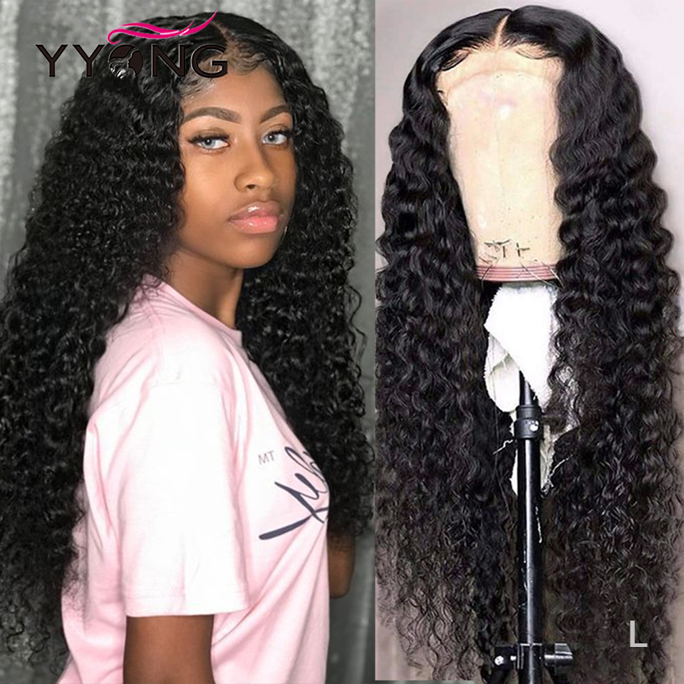 1x6 T Part Lace Wig Deep Wave HD Transparent Lace  Wigs 4x4 Lace Closure Wig  Indian T Type Lace Wig 28 30inch 1