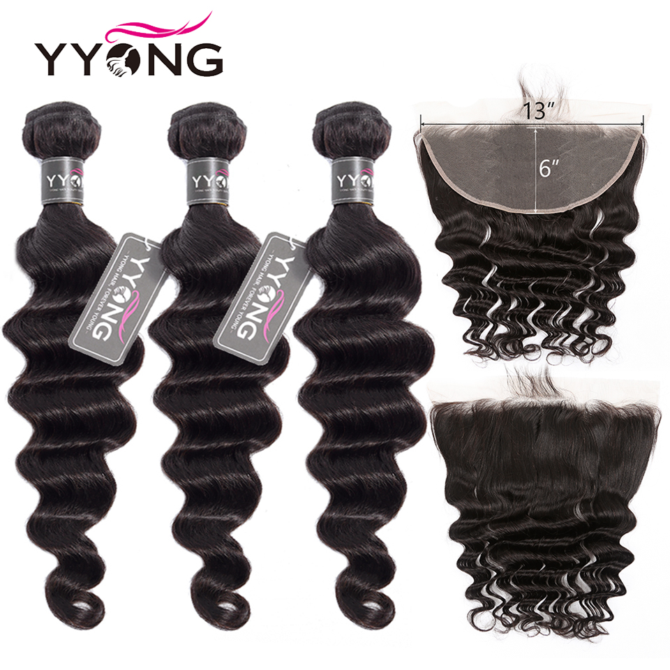 Newest 13x6 Lace Front Closure With Bundles Remy Brazilian Loose Deep Wave 8-30inch Human Hair Bundles With Lace Front