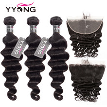 Newest 13x6 Lace Front Closure With Bundles Remy Brazilian Loose Deep Wave 8-30inch Human Hair Bundles With Lace Front(China)