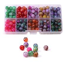200pcs/set 8mm Colorful Glass Beads Loose for DIY Bracelet Neclace Jewelry Findings&Components