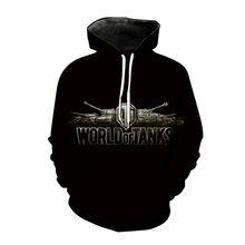 2021 new hot-selling world tank 3D printing couple sweatshirt hoodie sweatshirt pullover hip hop street helmet armor