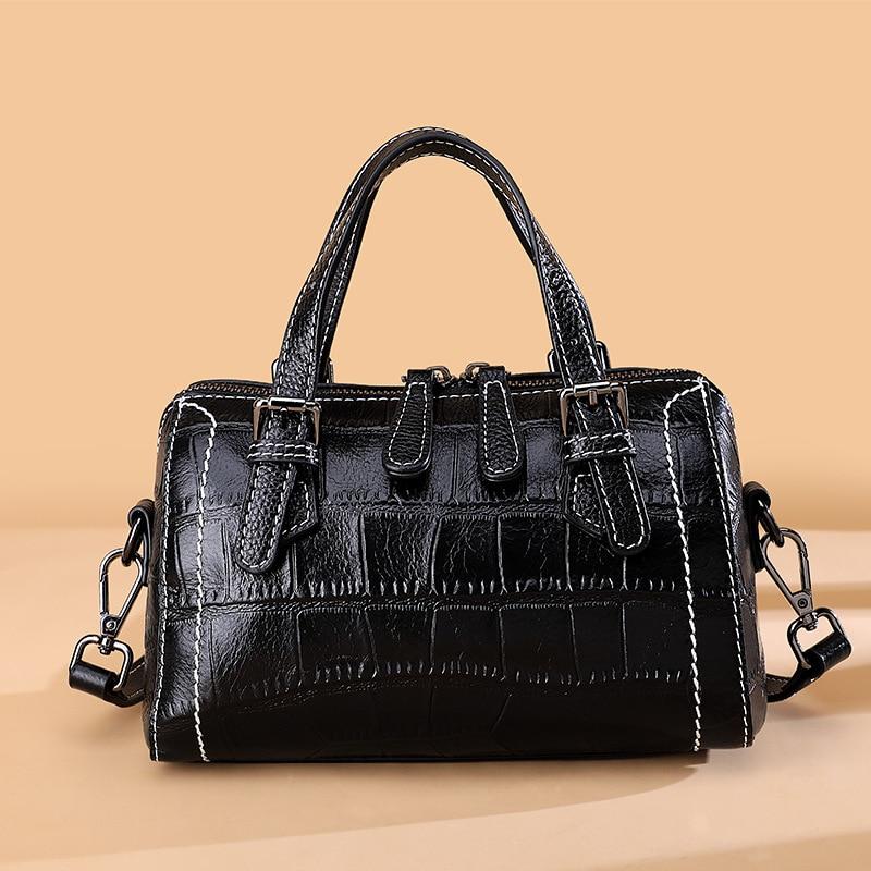 Vintage Alligator Women Crossbody Bags Real Leather Women Handbags Zipper Lock Shell female messenger bags Handbags Phone Purse