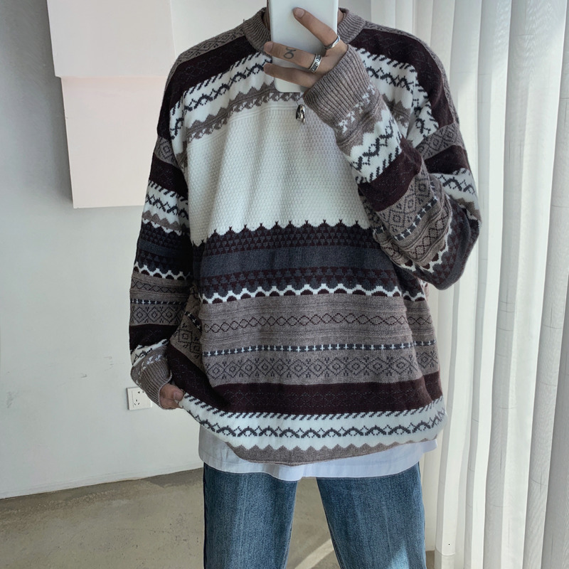 Winter Sweater Men Warm Fashion Retro Casual Knit Sweaters Man Streetwear Loose Long-sleeved Pullover Sweter Clothes Men